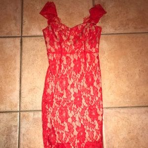 Red lace dress size small, NWT.